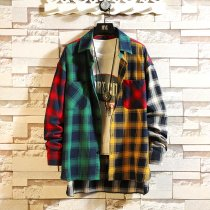 Spring personality Korean version of the trend of color matching plaid shirt men's casual hip hop loose long-sleeved shirt 5XL