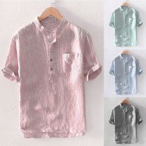 Men's Baggy Stripe Cotton Linen Short Sleeve Button Pocket Shirts Tops Blouse M-3XL camisas hombre manga larga #30
