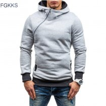 FGKKS Men Hoodie Sweatshirt Spring Brand Solid Color Fleece Tracksuit Sudaderas Hombre Hip Hop Male Hooded Sportswear EU Size