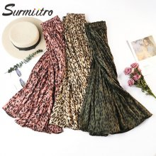 Surmiitro Leopard Print Pleated Skirts Women 2019 Spring Summer Midi Long Korean Elegant High Waist A-line Sun Skirt Female