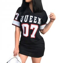 Fashion Queen Letters Printing Women Sexy Bodycon Mini Dress Casual Short Sleeve Slim Work Fashion Bodycorn Dresses