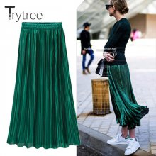 Trytree Spring Summer Pleated Skirt Womens Vintage High Waist Skirt Solid Long Skirts New Fashion Metallic Skirt Female