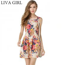 LIVAGIRL New Spring Sexy Summer Beach Dress Female O-neck Sleeveless Sling Dresses For Women Fashion Casual Colorful vestidos