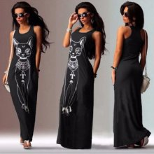 Summer Dress 2018 New Women Long Maxi Dress Casual Cat Print Boho Beach Sexy Party Dress Female Vestidos Largos robe femme