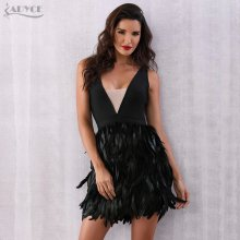 ADYCE Summer Women Feather Bandage Dress Vestidos Verano 2019 Black Sexy Deep V-Neck Tank Clubwear Bodycon Celebrity Party Dress