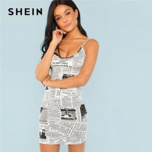 SHEIN Black and White Graphic Print Bodycon Cami Spaghetti Strap Bodycon Dress Women 2018 Summer Flounce Sleeve Elegant Dress