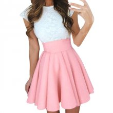 Midi Skirts Womens Summer Solid High Waist simple Skater Skirt Ladies Party Cocktail Mini Skirts Faldas Cortas #YL
