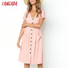 Tangada 2019 summer cotton dress women tunic v neck short sleeve pink midi dresses pocket casual vestidos female AON04