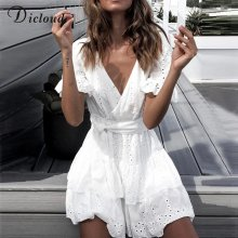DICLOUD White Embroidery Cotton Dresses Summer Women Short Sleeve Casual Beach Sundress Sexy V Neck Hollow Out Mini Dress