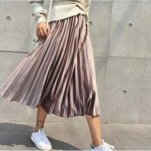 2019 New Spring Autumn Winter High Waisted Skinny Female Velvet Skirt Pleated Skirts Pleated Skirt Free Shipping