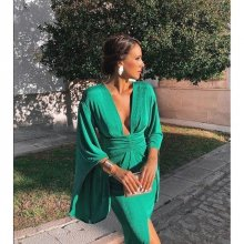 Green Elegant Sexy Dress Summer 2019 Women Deep V Neck Bodycon Party Dresses Ladies Flare Sleeve Split Tunic Midi Dress Women