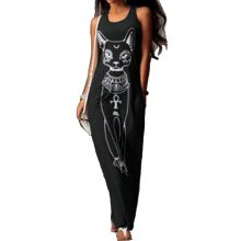 2019 Women Summer Long Maxi Dress Casual Cat Print Boho Beach Dress Sexy Evening Party Bodycon Dress Vestidos Largos Mujer XXXL