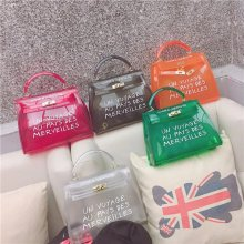 Top-handle Clear Transparent PVC Women Shoulder Bags Letter Jelly Candy Color Women Messenger Crossbody Bag Luxury Females Bolsa