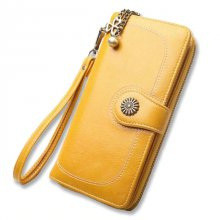 Fashion Women Yellow Clutch 2018 Leather Wallet Woman Zipper Long Wallets Female Purse Wristlet Red Money Bag Coin Card Holder