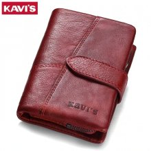 KAVIS 2019 Genuine Leather Women Wallet And Purses Coin Purse Female Small Portomonee Rfid Walet Lady Perse For Girls Money Bag
