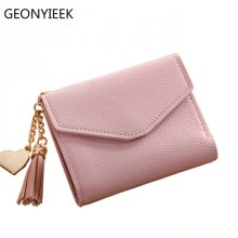 2018 fashion solid tassel women wallet for credit cards small luxury brand leather short womens wallets and purses zipper&hasp
