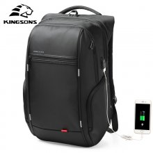 Kingsons 15 17   Laptop Backpack External USB Charge Computer Backpacks Anti-theft Waterproof Bags for Men Women