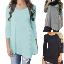 Korea Summer women's O-Neck Shirts Casual Long Sleeve Button ladies Tops solid Tunic Chiffon Blouse Female Tops Blusas Plus Size