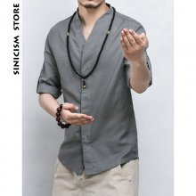 Sinicism Store Mens Cotton Linen Shirt Men Three Quarter Sleeve Solid Chinese Clothes Male V-neck Shirt Big Size 2019 New