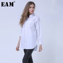 [EAM] 2019 Spring Lapel Fashion New Long Sleeves Solid Color Blue Striped Long Paragraph Loose Women Shirt Tide G01605