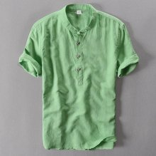 Mens Pullover Linen Shirts Short Sleeve Mens Quality Casual Shirts Slim fit Solid Mandarin Collar Cotton Shirts Men TS-155