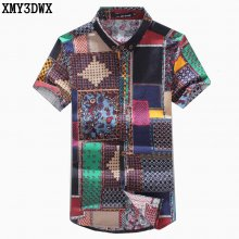 New 2018 Summer Men's fashion brand Pattern leisure linen big yards short sleeve shirts / Male National wind casual Print shirts
