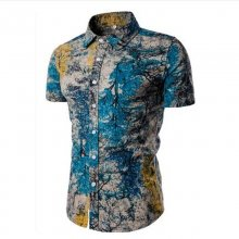 Asian Size M-5XL Large Size Men's Shirts Cotton linen Casual Short Sleeve Shirt men fashion printing Shirts Dress shirt