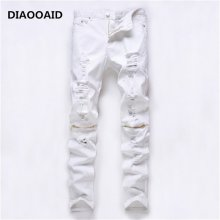 2018 new fashion high street men's jeans zipper knee knocked ragged hole male club denim fabric elastic skinny ripped trousers