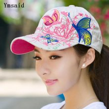 Ymsaid 2019 Summer Adjustable Snapbacks Baseball Caps Women Lady Flowers Butterfly Embroidered Hat Wholesale