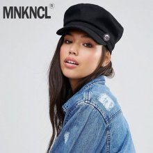 MNKNCL 2018 New Fashion Black Hat Cap Women Casual Streetwear Rope Flat Cap Elegant Solid Autumn Winter Warm Beret Hat Female