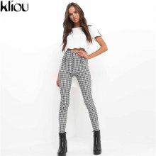Kliou 2019 Gray White Plaid Pants Sweatpants Women Side Stripe Trousers Casual Cotton Comfortable Elastic Pants Joggers