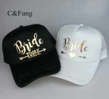 C&Fung Bride Tribe Bachelorette Snapback Trucker Hat Cap Team Bride gold letters Arrow bride to be bride tribe baseball hats