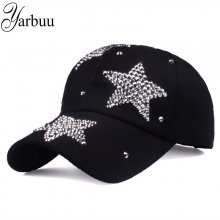 [YARBUU] new brand baseball caps high quality Rhinestone cap with three stars Snapback Casquette hat for women Lady solid color