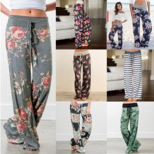 Women Loose Long Pants Floral Print Drawstring Lace pant Casual Sports Female trousers Summer Fashion Sweatpants Plus Size 2019