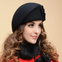 2017 New Fashion Women Beret Hat For Women Beanie Female Cap Flower French Trilby Wool Soft Stewardess Hat gorras planas