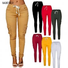 NIBESSER 2019 Autumn Ladies Cargo Pants  up Women Casual Pencil Pants Female  Waist Pant Multi-Pocket Joggers Sweatpants