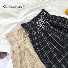 CamKemsey Japanese Harajuku Casual Pants Women 2019 Fashion Lace Up High Waist Ankle Length Loose Plaid Harem Pants