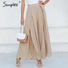 Simplee Elegant women summer pants Wide leg elastic high waist split trousers Casual streetwear fashion female palazzo pants