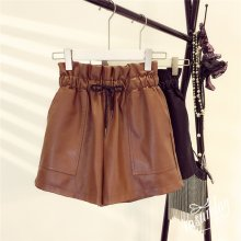 2019 Spring New Korean Style Female Sexy Leather Shorts High Waist Loose Wide Leg Short Femme Elastic Waist Belt Free Shipping