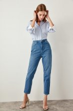 Trendyol Blue High Waist  Mom  Jeans Casual Straight-led Denim TCLSS19LR0047