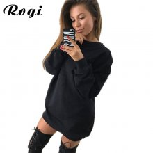 Rogi Women Hoodie Sweatshirt Casual O-Neck Loose Oversized Hoodie Dress Autumn Long Sleeve Hoodies Sweatshirts Sweat Femme S-XL