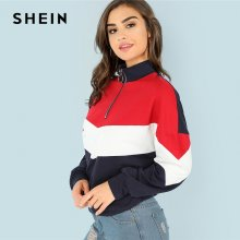 SHEIN Multicolor Minimalist O-Ring Zip Front Cut And Sew Stand Neck Raglan Sleeve Sweatshirt Autumn Women Casual Pullovers