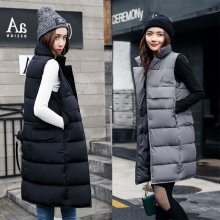 ALMUERK Autumn Winter Cotton Vest Women Ladies Casual Waistcoat Female Sleeveless Long Vest Jacket Slim Fit Warm Simple Coat