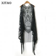 XITAO Sexy Lace Cardigan Women Vest Casual Hollow Out Perspective Plus Size Irregular Long Beach Elegant Korean Tops XWW2841