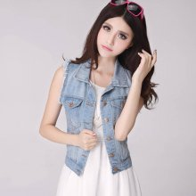 Spring Denim Vest Women Casual Colete Coat Vintage Cardigan Jean Sleeveless Turn-down Collar Breasted brand Woman Clothing ZY965