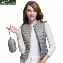 2019 New Women 90% White Duck Down Vest Women's Ultra Light Duck Down Vest Jacket Autumn Winter Round Collar Sleeveless Coat