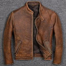 Free shipping.Plus size Brand Classic style cowhide jacket,mens 100% genuine leather jackets,biker vintage quality coat.sales