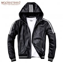 MAPLESTEED Men Leather Jacket Hood 100% Natural Sheepskin White Stripes Real Leather Jackets Boy Coat Hooded Spring Autumn M183
