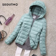 SEDUTMO Winter Plus Size 4XL Womens Down Jackets Short Ultra Light Duck Down Coat Hooded Puffer Jacket Autumn Parkas ED034