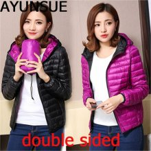 AYUNSUE Autumn Winter Women Ultra Light Down Jacket Duck Down Double Side Jackets Warm Short Coat Parka Outwear Plus Size 4XL